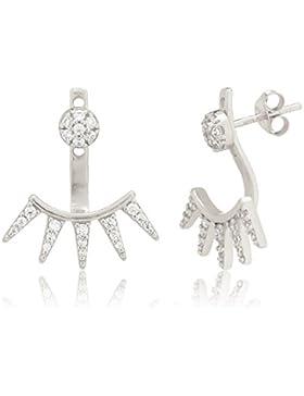 Ingenious Jewellery Pendel-Ohrstecker aus Sterlingsilber mit Pavé-Stift und 5 Pavé-Dreiecken