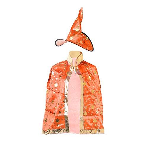 ZJL220 Kids Children Halloween Costume Witch Wizard Cloak Gown Robe Hat Stars Cosplay (Kostüme Witch Wizard Und)