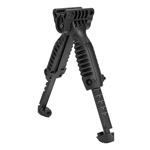 Alomejor Tactic Zweibein Langlebiger Kunststoff Leichtgewichtige Verstellbarer Vertikaler Handgriff für 20mm Picatinny Weaver-Schiene -