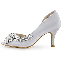 ElegantPark HP1542 Mujer Fiesta Zapatillas Peep Toe D'orsay Rhinestone Tac¨®n De Aguja Sat¨¦n Zapatos De Boda Blanco