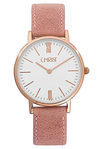 CHRIST times Damen-Armbanduhr Analog Quarz One Size, weiß, rosa