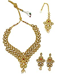 My Design Antique Gold Plated AD Stone Bridal Necklace Set For Women And Girls