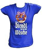 Artdiktat Damen T-Shirt | Brezel Oktoberfest Mein Dirndl ist in der Wäsche | Wiesn Fest Party München Größe XL, blau