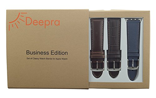 DEEPRA Apple Watch Band Leather Straps for iWatch 42 mm Series 3 & 1 – Row, Set of 4 Pack