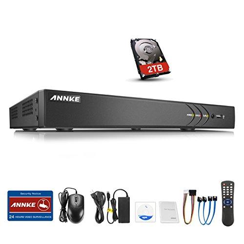 ANNKE CCTV TVI DVR Recorder Videoüberwachung 16CH 3,0MP Netzwerk Digital Video Recorder H.264 für Videoüberwachung Aufzeichnungsgerät Bewegungserkennung Fernüberwachung mit 2TB Festplatte