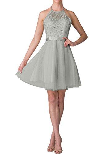 La_mia Braut Navy Blau Kurzes Spitze Hundkragen Abendkleider Ballkleider  Cocktailkleider Brautjungfernkleider Mini Silber