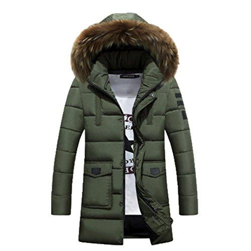 OHmais homme parka manteau d'hiver veste à capuche fourré Vert
