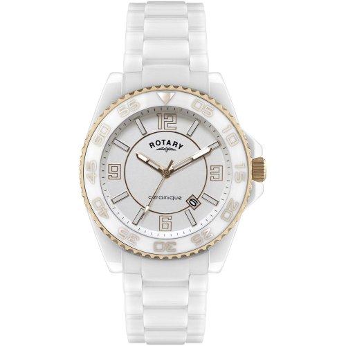 Rotary - CEWBG/18 - Montre Mixte - Quartz Analogique - Bracelet Céramique Blanc