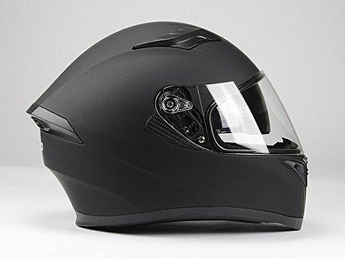 BNO Integralhelm Helm F600 Matt Schwarz Größe S - XXL (M (57/58), Matt Schwarz + Ersatzvisier getönt)