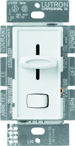 Lutron S-600P-WH 600-Watt Skylark Single-Pole Dimmer, White by Lutron (Dimmer Skylark)