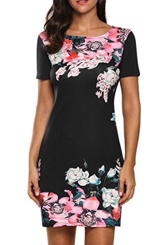 meaneor-women-short-sleeve-floral-print-slim-fit-casual-dress