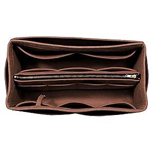 [Passt Neverfull MM/Speedy 30, Dunkelbraun] Geldbörse einfügen (3 mm Filz, abnehmbare Tasche w/Metall-Zip), Filz Tasche…