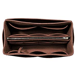 [Passt Neverfull MM/Speedy 30, Dunkelbraun] Geldbörse einfügen (3 mm Filz, abnehmbare Tasche w/Metall-Zip), Filz Tasche Organizer