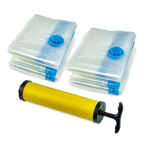 Premium Vacuum Storage Bags* (8pack 100 x 80CM ) Extra Thick Space Saver Bags* Thicker and Stronger Jumbo Vacuum Bag Storage * More bags in the pack than other Brands out there. 8 Jumbo bags + FREE Hand-Pump for Travel!Double-Zip Seal and Triple Seal Turbo-Valve for maximum Compression! 100% Money-Back Guarantee! Pack of 8