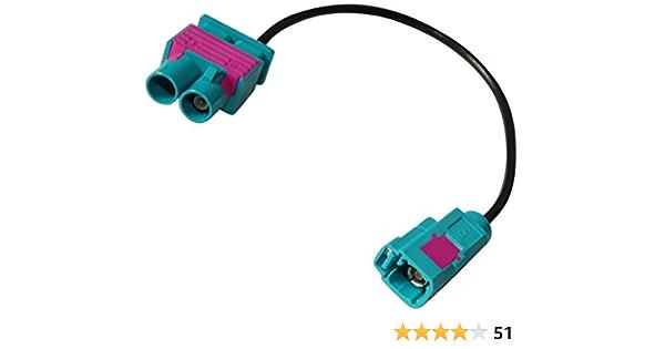 Aerzetix Anschluss Kabel 20 Cm Adapter Stecker Antenne Fakra Buchse Grün Auf Doppel Fakra Stecker Für Auto Auto