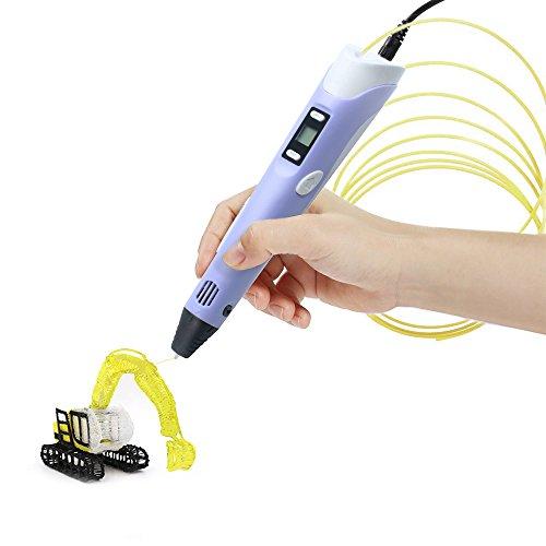 3D Pluma de Impresión, Bolígrafo de Estereoscópica Inteligente, DIY Pen con Pantalla LED y Velocidad Ajustable, 1 Paquete de Filamentos PLA(3 colores al azar), Regalo Fantastico para Niños / Adultos