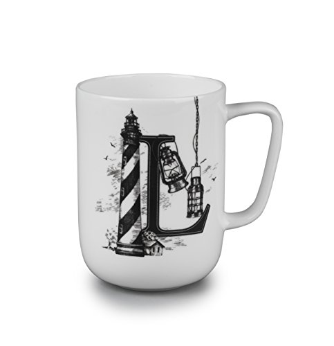 Portobello cm04997Devon Leuchtturm & Laternen Bone China Becher, Schwarz/weiß -