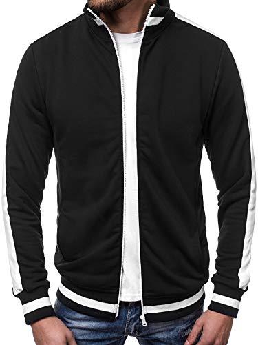 OZONEE Herren Sweatshirt Sweatjacke Sportjacke Pullover Pulli Basic Klassiker Longsleeve 777/720B SCHWARZ M