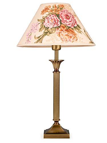 Helios Leuchten 403776/4 Vintage Lampe Leuchte | klassische Jugendstil Tischleuchte Tischlampe | Retro Schreibtischlampe echt Messing antik Altmessing | Lampenschirm geblümt | 1xE14 -