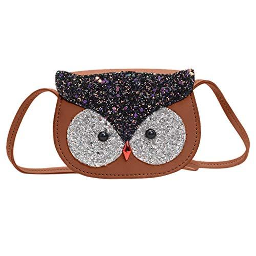Dorical Umhängetasche für Kinder Süß Eule Kindertasche, Klein Messenger Handtasche Schultertasche für Kinder, Mädchen, aus PU-Leder, für 2-5 Jahre geeignet im Kindergarten Ausverkauf(Braun)