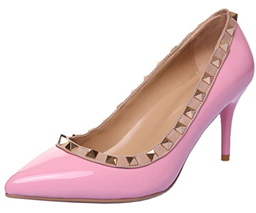 HooH Damen Pumps Lackleder 8 CM Spitze Studded Klassisch High Heel Hochzeit Kleid Pumps Slip On Pink 38 EU