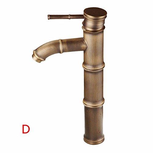 D1-licht-bad (LHbox Bad Armatur in Bad für Waschbecken Waschtisch Wasserhahn Waschtischarmatur Waschbecken Wasserhahn Kupfer antik Bambus gebürstet Warmes/Kaltes Wasser Mixer Mixer, D1)