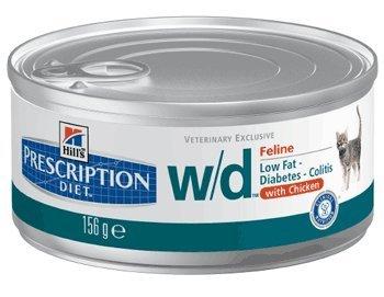 Hill's Prescription Diet Feline W/D Nourriture Gestion du Poids Pauvre en Graisse-Diabète-Colite Poulet pour Chat 24 x 156 g