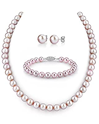 "7-8mm Pink Freshwater Cultured Pearl Necklace, Bracelet & Earrings Set, 18"" Princess Length - AAA Quality"