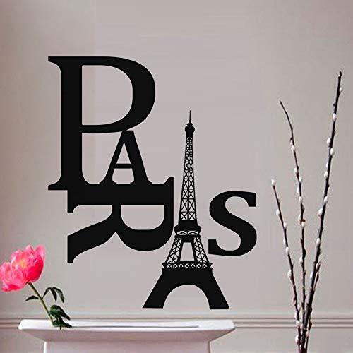 jiushizq Grandi Dimensioni Soggiorno Fai da Te Adesivi murali Torre di Parigi Adesivo Rimovibile in PVC Adesivo Decorativo Accessori per la casa Accessori Rosso 87x105 cm