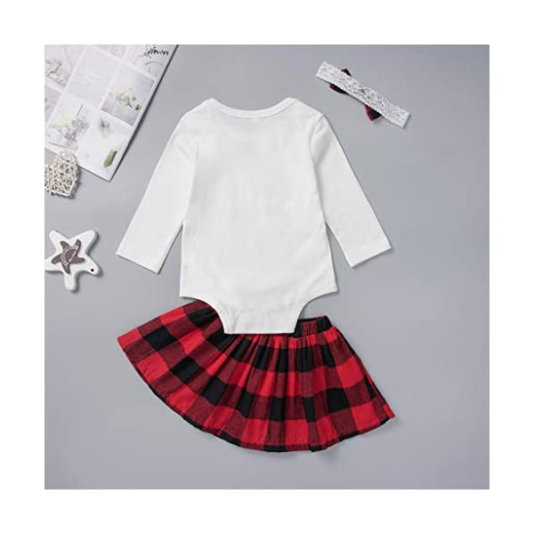 Abrigo cálido de inviernoConjunto de Trajes de Navidad de Falda de Cuadros de Navidad para niñas recién Nacidas 3