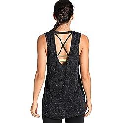 Meliwoo - Camiseta Yoga Tirantes Prendas Deportivas Para Mujer Negro M