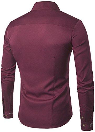 Whatlees Herren Lang Geschnittenes Hemd mit Asymmetrisches und aufgesticktes Design B404-Red