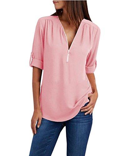 Lueyifs Damen Chiffon Blusen Kurzarm V-Ausschnitt Shirts 9 Farbe Elegant Reißverschluss Oberteil Tops - Chiffon-hemd