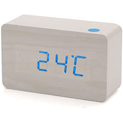 SODIAL(R) Moderno Madera Madera USB Digital LED azul Reloj Calendario Termometro Nuevo
