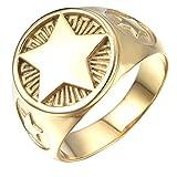 Hommes Titane Acier Or/Argent Pentagram Cinq étoiles Pointu Anneau Style Signet