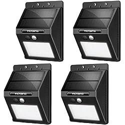 VicTsing Luces Solares LED Exterior, Lámpara Solar con Sensor de Movimiento Impermeable de 400lm, Foco Solar de Pared para Jardín, Garaje, Camino, Patio, 4 Piezas