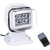 JohnJohnsen 7 Pulgadas LED de Control Remoto del Reflector 50W Led arnés de cableado lámparas de Control para el Carro SUV Marine Focos portátil (Blanco)