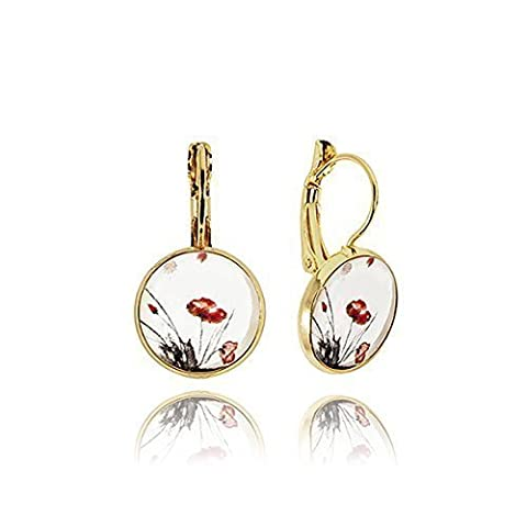 Classic Shape Gold Tone Drop Earrings with Red Poppy