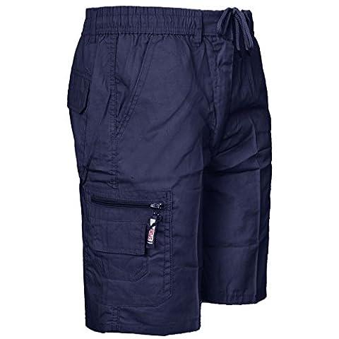 NEW MENS PLAIN SHORTS CARGO COMBAT POCKETS SUMMER POLY COTTON ELASTICATED PANTS[Navy ,XXL]