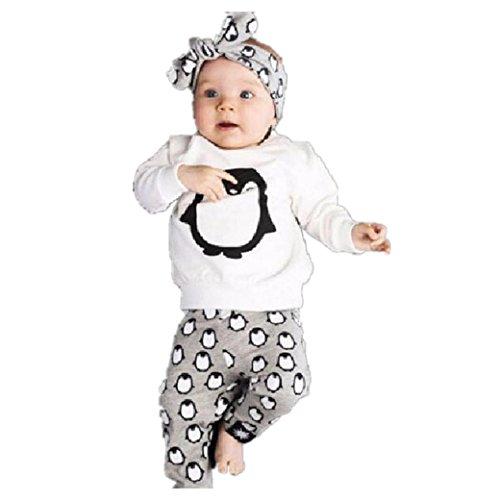 Baby kinder Junge Mädchen Mode Pinguin design Set Langarm T Shirt + Hose Baumwolle Langarm Tops Kinderbekleidung Outfits Set (70)