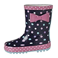 Tigerlily New Kids Infants Girls Wellies Rubber Rainy Snow Navy Spots Wellington Boots