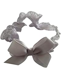 NeedyBee Baby Girls Headband For Newborn Bow Headband Hair Accessories in Soft Lace (Grey)