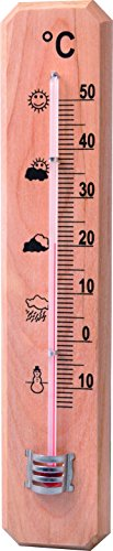 Innen Thermometer Holz (Technoline Thermometer, buche, 4,2 x 1,5 x 20 cm, WA 2020)
