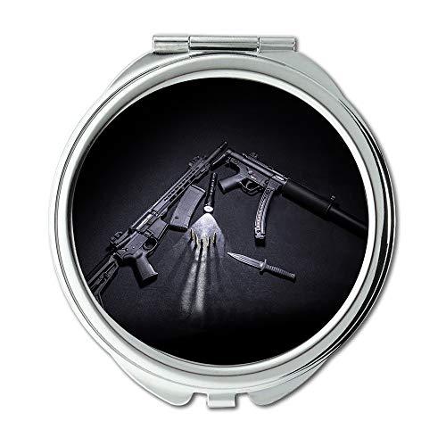 Yanteng Spiegel, Reise-Spiegel, Gewehr Amerika, runder Spiegel, Munition Sturmgewehre schwarz, Taschenspiegel, tragbarer Spiegel