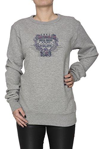 Rock American Donna Grigio Felpa Felpe Maglione Pullover Grey Women's Sweatshirt Pullover Jumper
