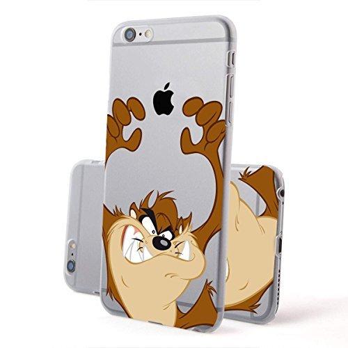 finoo | IPHONE 6 / 6S Lizensierte Hardcase Handy-Hülle | Transparente Hart-Back Cover Schale mit Looney Tunes Motiv | Tasche Case mit Ultra Slim Rundum-schutz | Tweety freut sich Taz arme hoch