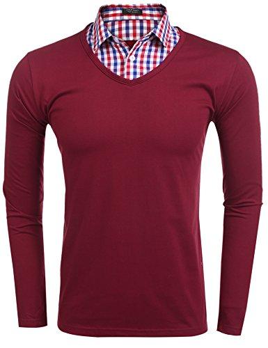 Burlady Herren Hemd Langarmshirts 2 in 1 Pullover mit Business und Freizeit hemd Rot