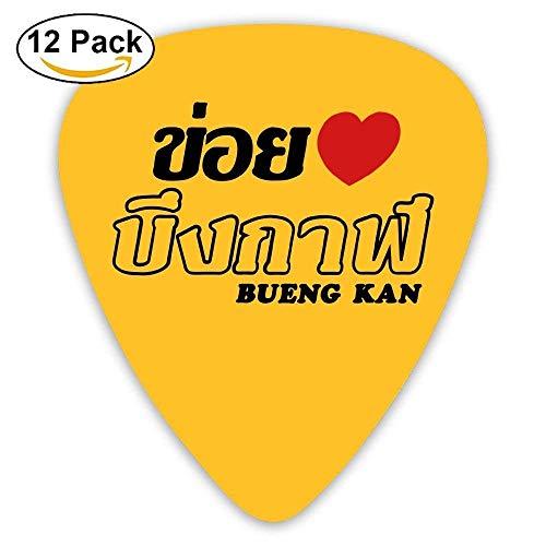 Celluloid Guitar Picks Acoustic Guitar Plectrums,Print I Heart Love Bueng Kan,12 Pack