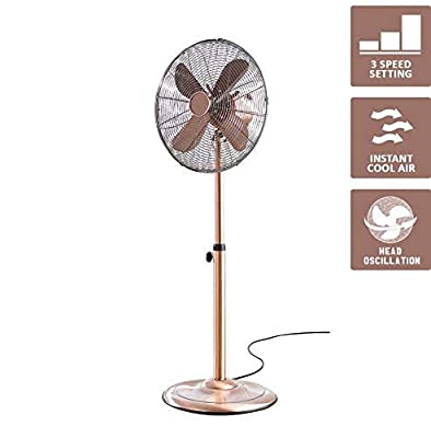 Fine Elements 16 inch Floor Standing Copper Fan Summer Cooler Fan Oscillating
