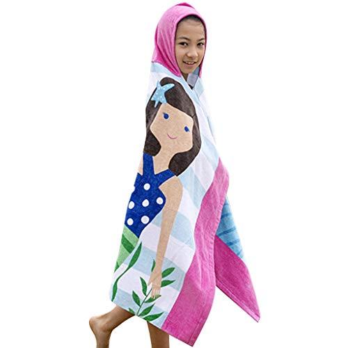 Niños Niñas Toalla de Playa con Capucha - Bebé Bata de Baño 100% Algodón Toalla de Baño Dibujos...